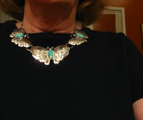 Image 4 of Everett Mary Teller Turquoise Sterling Silver Overlay Butterfly Necklace