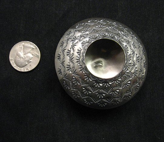 Image 2 of Navajo Stamped Sterling Silver Seed Pot, Everett & Mary Teller