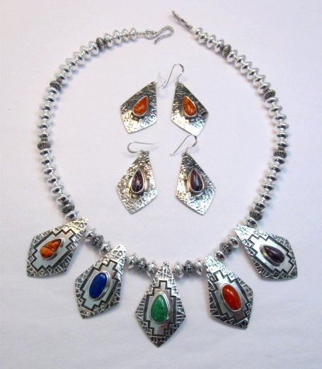 Image 0 of One-of-a-Kind Navajo Multigem Hammered Silver Bead Necklace, Everett Mary Teller