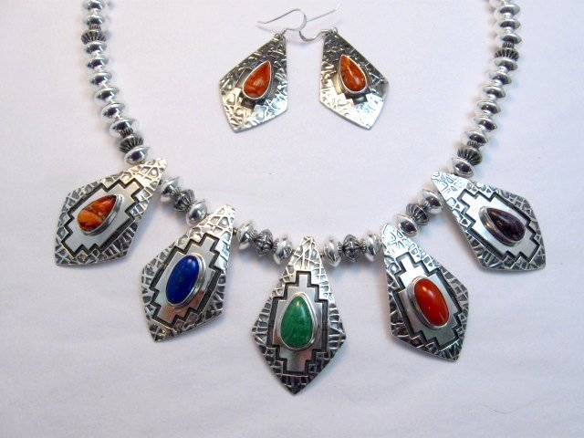 Image 5 of One of a Kind Navajo Multigem Hammered Silver Bead Necklace, Everett Mary Teller