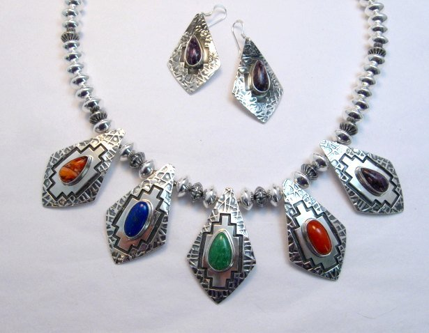 Image 6 of One-of-a-Kind Navajo Multigem Hammered Silver Bead Necklace, Everett Mary Teller