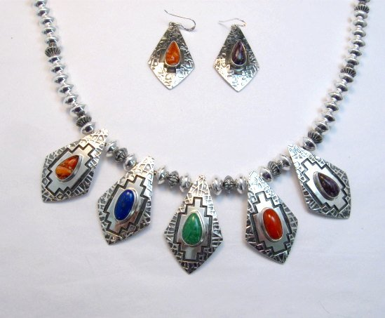 Image 7 of One of a Kind Navajo Multigem Hammered Silver Bead Necklace, Everett Mary Teller