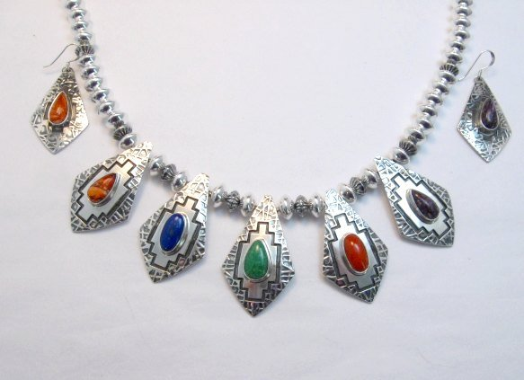 Image 15 of One of a Kind Navajo Multigem Hammered Silver Bead Necklace, Everett Mary Teller