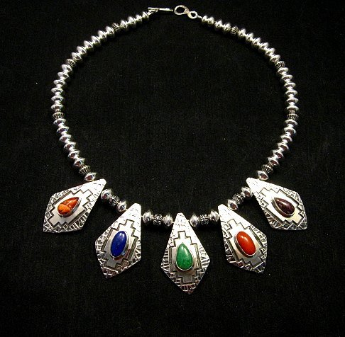 Image 1 of One-of-a-Kind Navajo Multigem Hammered Silver Bead Necklace, Everett Mary Teller