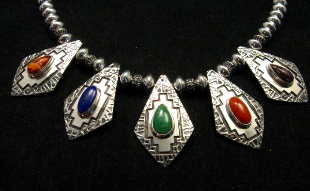 Image 2 of One of a Kind Navajo Multigem Hammered Silver Bead Necklace, Everett Mary Teller