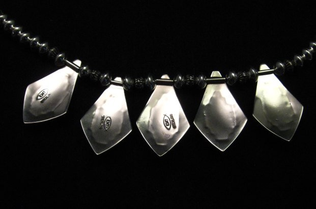 Image 14 of One of a Kind Navajo Multigem Hammered Silver Bead Necklace, Everett Mary Teller