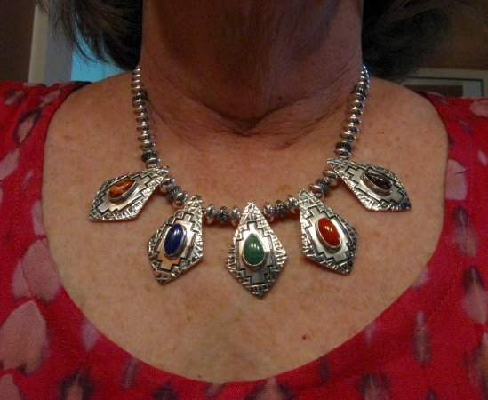 Image 4 of One of a Kind Navajo Multigem Hammered Silver Bead Necklace, Everett Mary Teller