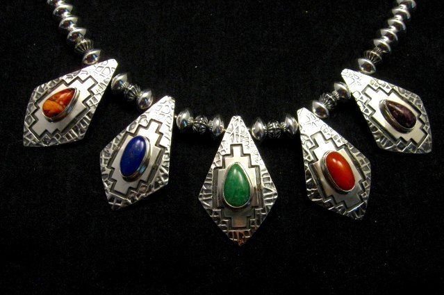Image 10 of One-of-a-Kind Navajo Multigem Hammered Silver Bead Necklace, Everett Mary Teller