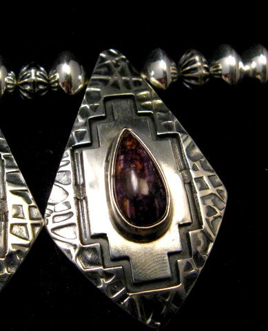 Image 13 of One of a Kind Navajo Multigem Hammered Silver Bead Necklace, Everett Mary Teller