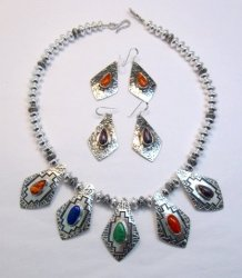 One of a Kind Navajo Multigem Hammered Silver Bead Necklace, Everett Mary Teller