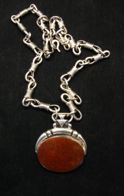 Image 6 of Vintage Navajo Dinosaur Bone Sterling Silver Necklace, Orville Tsinnie