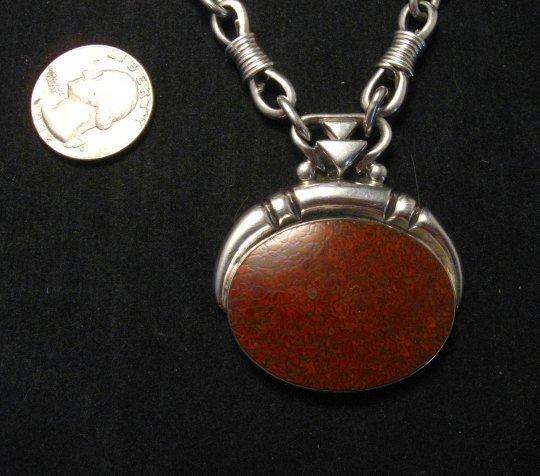 Image 7 of Vintage Navajo Dinosaur Bone Sterling Silver Necklace, Orville Tsinnie