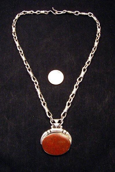 Image 0 of Vintage Navajo Dinosaur Bone Sterling Silver Necklace, Orville Tsinnie