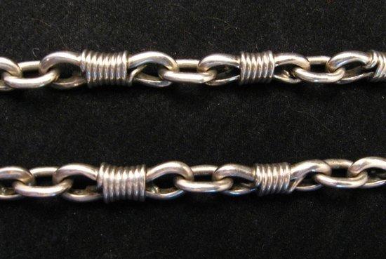 Image 3 of Vintage Navajo Dinosaur Bone Sterling Silver Necklace, Orville Tsinnie