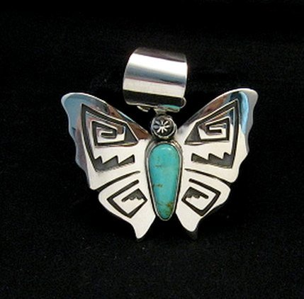 Image 0 of Everett Mary Teller Turquoise Sterling Silver Overlay Butterfly Pendant