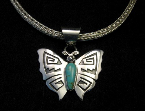 Image 1 of Everett Mary Teller Turquoise Sterling Silver Overlay Butterfly Pendant