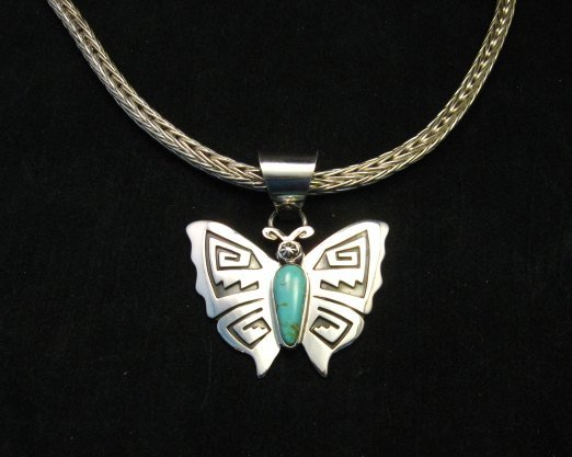Image 3 of Everett Mary Teller Turquoise Sterling Silver Overlay Butterfly Pendant