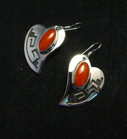 Image 1 of Navajo Silver Overlay Coral Heart Earrings, Everett & Mary Teller