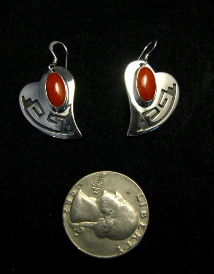Image 2 of Navajo Silver Overlay Coral Heart Earrings, Everett & Mary Teller