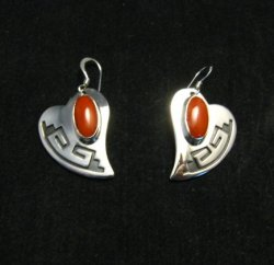 Navajo Silver Overlay Coral Heart Earrings, Everett & Mary Teller