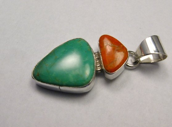 Image 2 of Navajo 2-stone Turquoise Spiny Oyster Silver Pendant, Everett Mary Teller