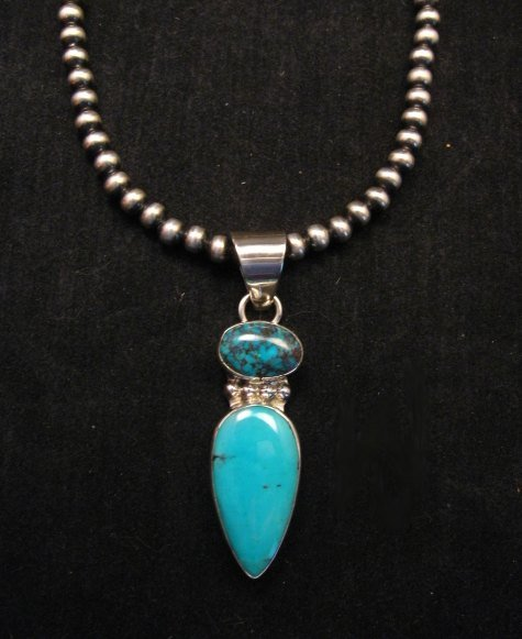 Image 1 of Navajo 2-stone Turquoise Sterling Silver Pendant, Everett & Mary Teller