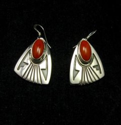 Navajo Handmade Silver Coral Earrings, Everett & Mary Teller