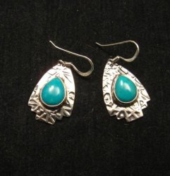 Navajo Native American Everett & Mary Teller Turquoise Hammered Silver Earrings