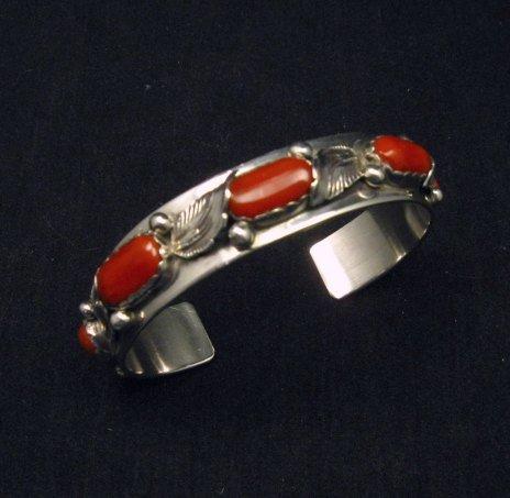Image 0 of Vintage Zuni 5-stone Coral Silver Bracelet, Carmelita Simplicio