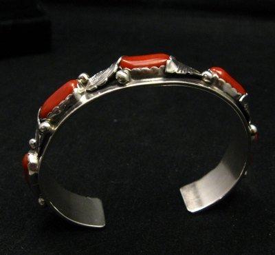 Image 2 of Vintage Zuni 5-stone Coral Silver Bracelet, Carmelita Simplicio