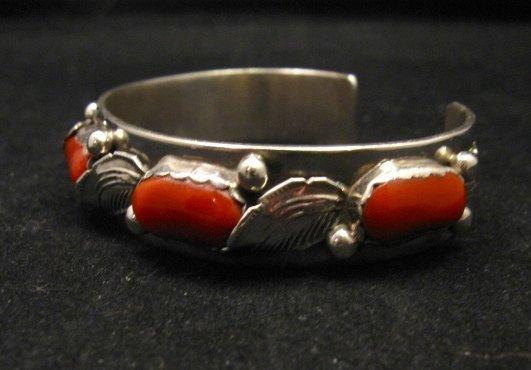 Image 3 of Vintage Zuni 5-stone Coral Silver Bracelet, Carmelita Simplicio