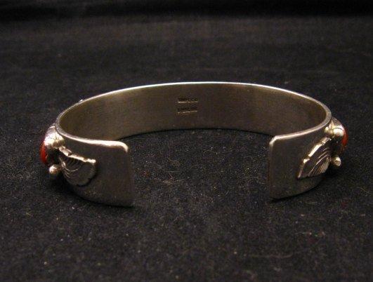 Image 5 of Vintage Zuni 5-stone Coral Silver Bracelet, Carmelita Simplicio