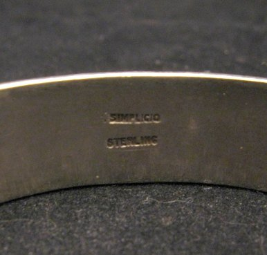 Image 6 of Vintage Zuni 5-stone Coral Silver Bracelet, Carmelita Simplicio