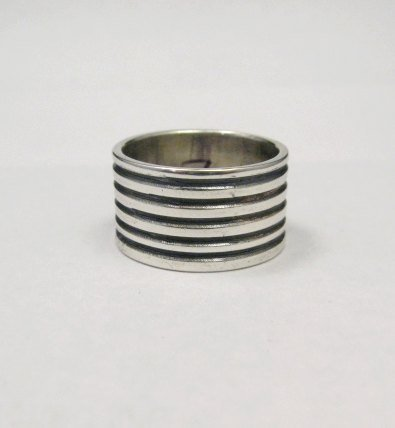Image 0 of Navajo Ribbed Sterling Silver Band Ring, Travis Teller sz7