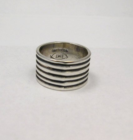 Image 1 of Navajo Ribbed Sterling Silver Band Ring, Travis Teller sz7