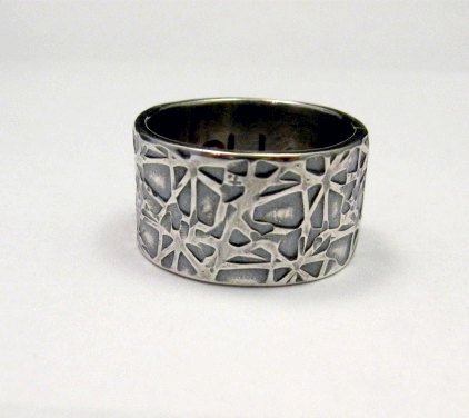 Image 0 of Navajo Hammered Sterling Silver Band Ring, Travis Teller sz7