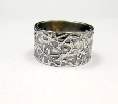 Image 1 of Navajo Hammered Sterling Silver Band Ring, Travis Teller EMT sz7