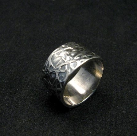 Image 2 of Navajo Hammered Sterling Silver Band Ring, Travis Teller EMT sz7
