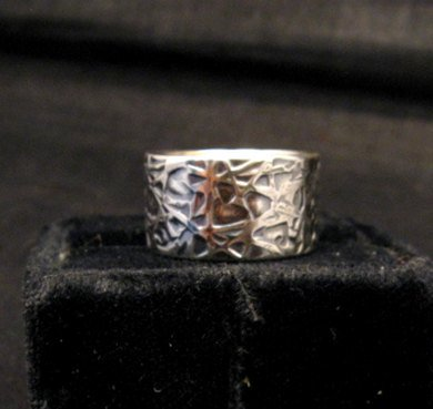 Image 4 of Navajo Hammered Sterling Silver Band Ring, Travis Teller sz7