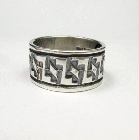 Image 0 of Navajo Hand Stamped Sterling Silver Band Ring, Travis EMT Teller sz9