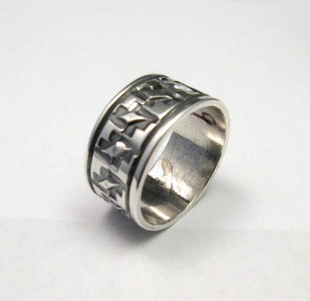 Image 1 of Navajo Hand Stamped Sterling Silver Band Ring, Travis EMT Teller sz9
