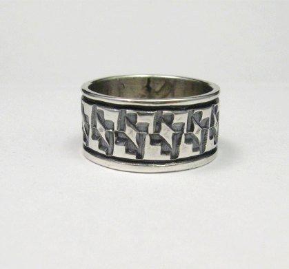 Image 2 of Navajo Hand Stamped Sterling Silver Band Ring, Travis EMT Teller sz9