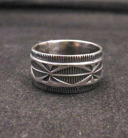 Image 0 of Navajo Sash Belt Design Silver Band Ring, Travis EMT Teller sz10-1/2