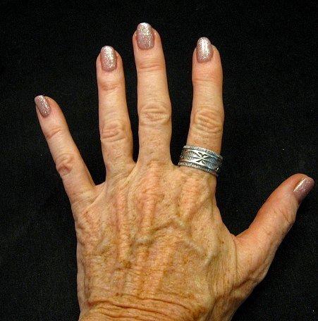 Image 2 of Navajo Sash Belt Design Silver Band Ring, Travis EMT Teller sz10-1/2