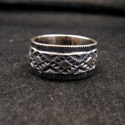 Image 0 of Navajo Hand Made Stamped Silver Band Ring, Travis EMT Teller sz11