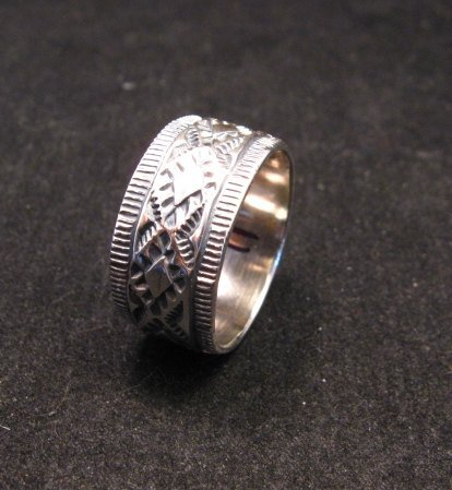 Image 1 of Navajo Hand Made Stamped Silver Band Ring, Travis EMT Teller sz11