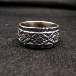 Navajo Hand Made Stamped Silver Band Ring, Travis Teller sz11