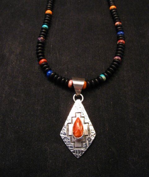 Image 5 of Navajo Spiny Oyster Fashion Cut Hammered Silver Pendant, Everett Mary Teller