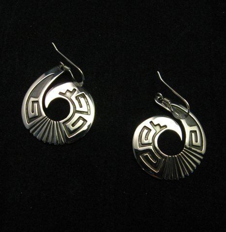 Image 1 of Everett & Mary Teller Navajo Sterling Silver Curly-Q Earrings