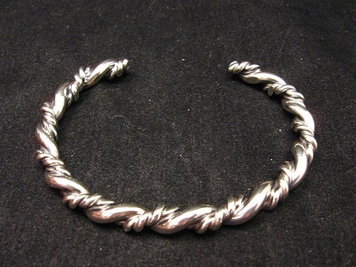 Image 0 of Navajo Native American Double Twisted Silver Bracelet, Travis Teller EMT